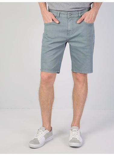 Colin's Regular Fit Orta Bel Erkek Yeşil Şort Mavi